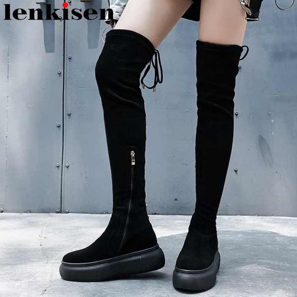 Lenkisen high street fashion platform high thick bottom round toe zipper kid suede sexy lady nightclub over-the-knee boots L22