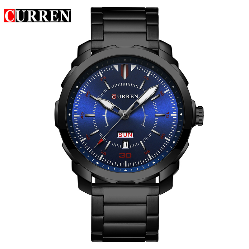 Curren Mens Watches Top Brand Luxury Black Stainless Steel Quartz Watch Men Casual Sport Clock Male Wristwatch Relogio Masculino watches men luxury brand chronograph quartz watch stainless steel mens wristwatches relogio masculino clock male hodinky