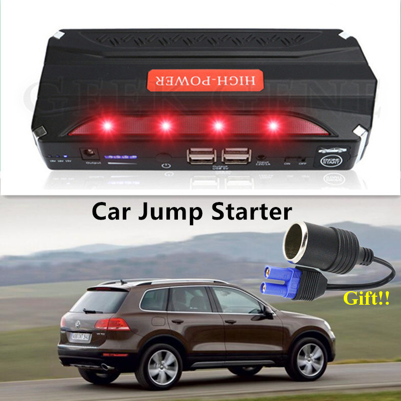 High Power 12V Petrol Diesel Car Jump Starter Portable Power Bank Starting Device 600A Car Battery Booster Charger SOS Lights CE 2016 high capacity gasoline diesel car jump starte 12v emergency battery charger 4usb portable power bank sos lights free ship
