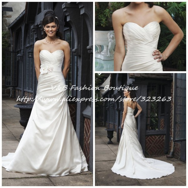 Western Country Casual Simple Satin Wedding Dress Bridal