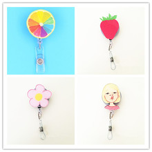 1pcs Fashion Cartoon Characters Retractable Badge Reel Student Nurse Business Card ID Badge Holder With Belt Clip