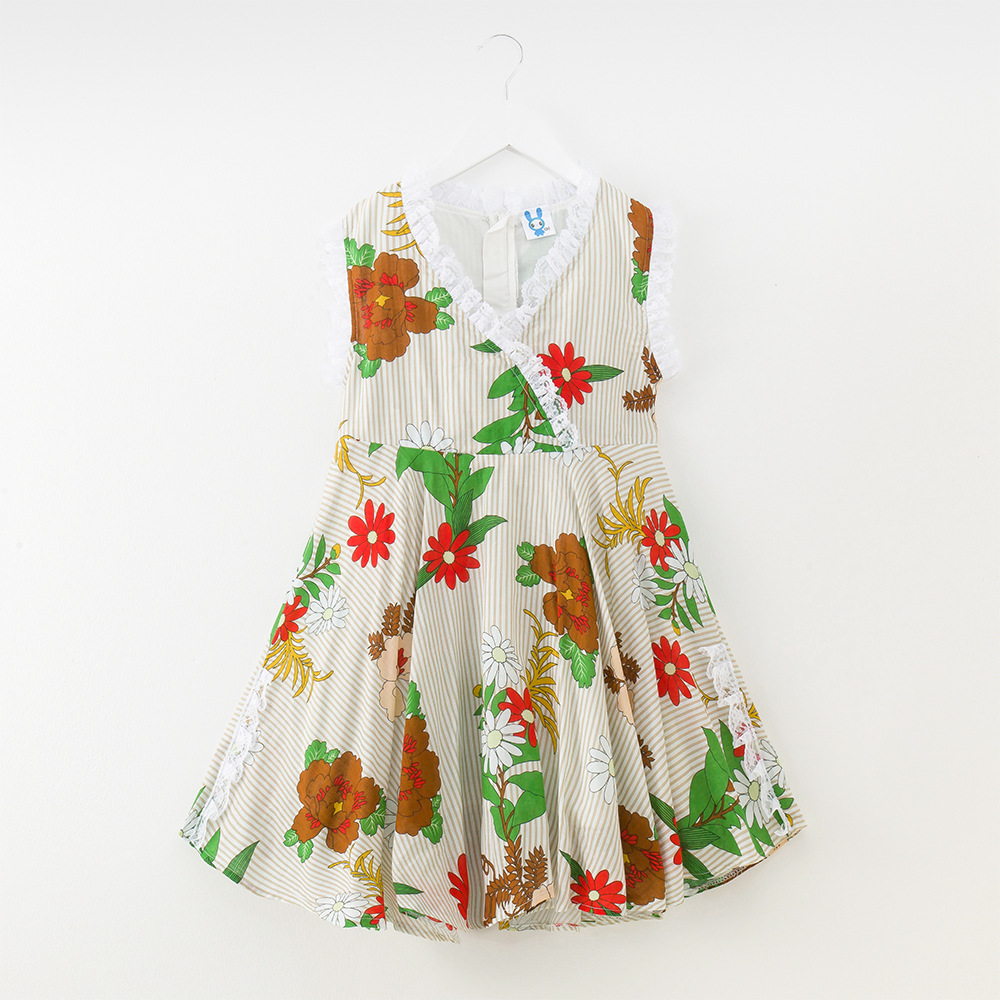 Summer Floral Girls Dress Baby Cotton Vestido Print Vest Princess Dresses 2018 for Children Beach Clothing 4y-12y