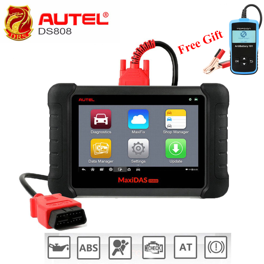 Autel MaxiDAS DS808 OBD2 Scanner Full System Automotive Diagnostic Tool OBDII Scan Tool Key Programming Machine Multi-language vdm ucandas wifi full system automotive diagnostic tool multi language newest version v3 73 include for h onda adapter
