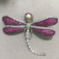 baroque natural fresh water pearl brooch irregular purple color rose red dragonfly brooch copper with cubic zircon fashion