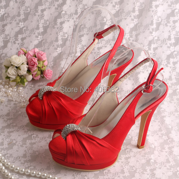 ФОТО Dropshipping Platform Women Pumps Fashion Sandals Red Satin High Shoes 2016 Wedding Party