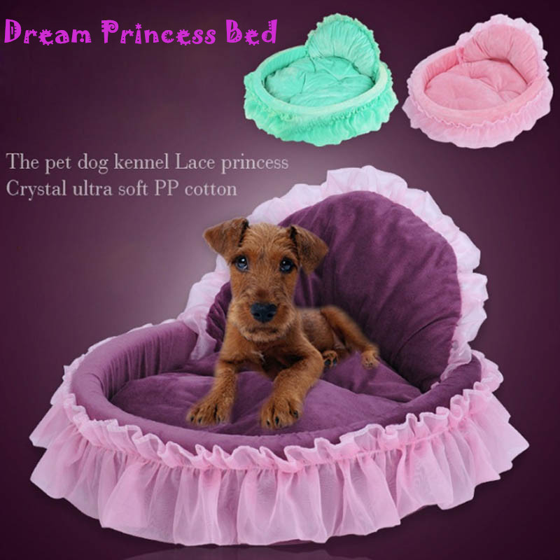 Princess Dog Bed Soft Sofa For Small Dogs Pink Lace Puppy House Purple Warm Beds
