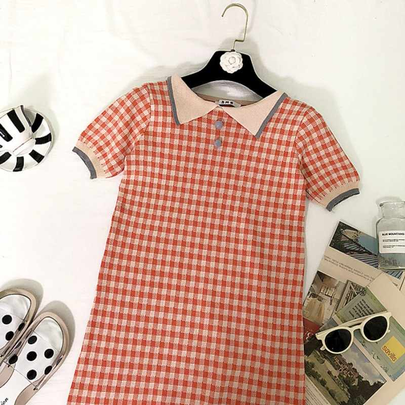 Plaid Print Long Knee-Length Shirt Dresses Women 2019 Casual Turn-down Polo Straight Dress Female Pockets Clothes