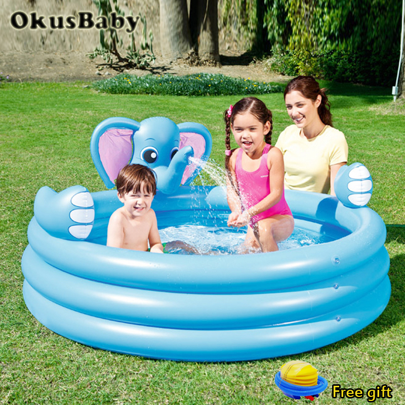 Summer Baby Fun Play Water Park Pools Spray Water 3 Layers Inflatable Elephant Animal Pool For Outdoor Garden Infant  Swimming