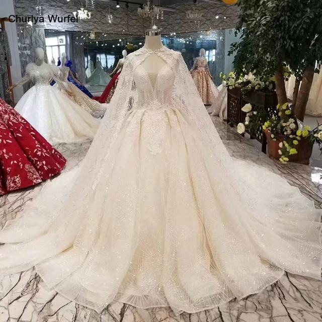 LS11233 فساتين زفاف أنيقة مع كيب طويل الخامس الرقبة بلا أكمام نمط تانك الخامس الظهر فساتين الزفاف الكرة ثوب