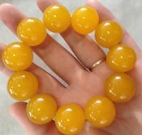 Selling Jewelry>>>Natural jadeite bracelet Quartz bracelets for men and women large beads yellow stone bracelet 20mm