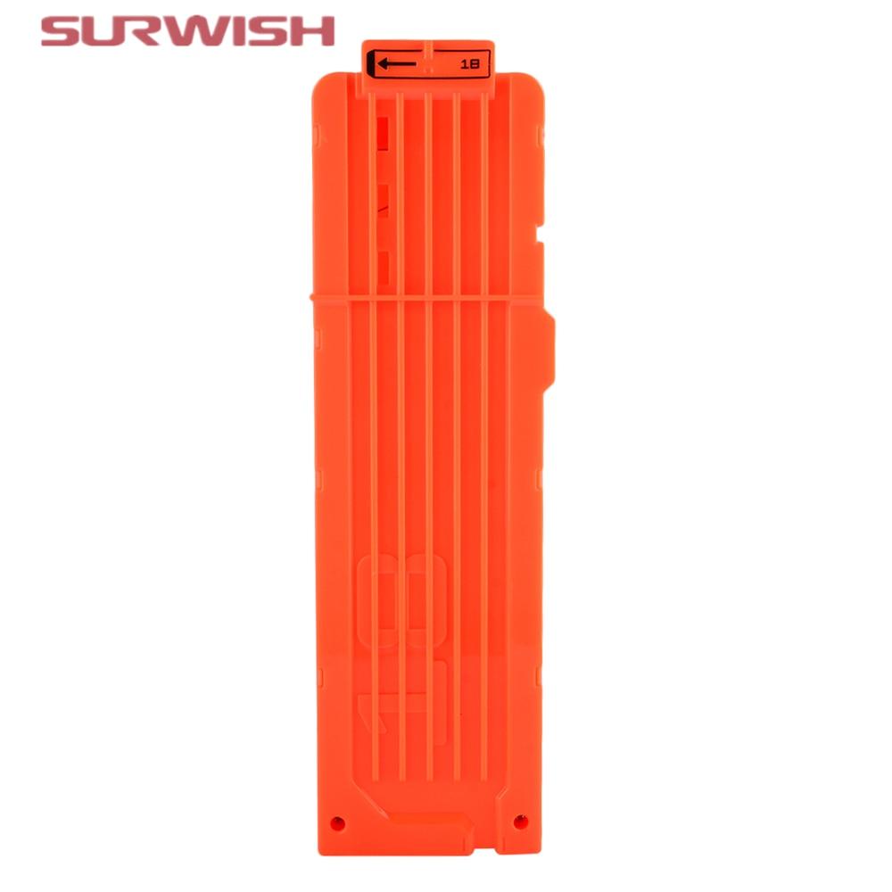 Surwish Soft Bullet Clips For Nerf Toy Gun 18 Bullets Ammo Cartridge Dart For Nerf Gun Clips – Orange