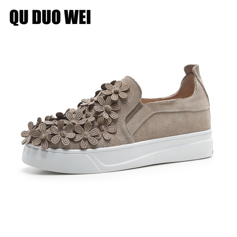 2018 New Spring Genuine Leather Women Loafers Shoes Sweet Flower Appliques Women Flat Creepers Fashion Outdoor Casual Sneakers muyisexi solid genuine leather with 3d flower loafers sneakers flat height increase casual women shoes gray black plus size bs01
