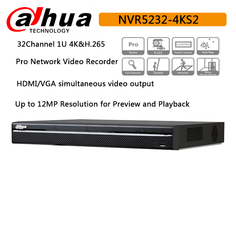 Original Dahua 32CH NVR5232 4KS2 H 265 Pro Network Video Recorder Up to 12MP face detection