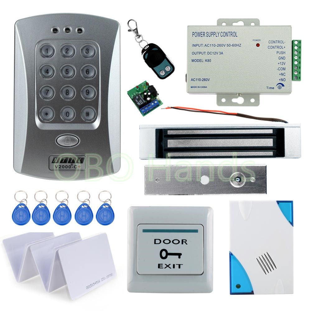 125KHz Remote control RFID access control door lock system kist set with door bell can connect to extra reader 1000users metal rfid em card reader ip68 waterproof metal standalone door lock access control system with keypad 2000 card users capacity