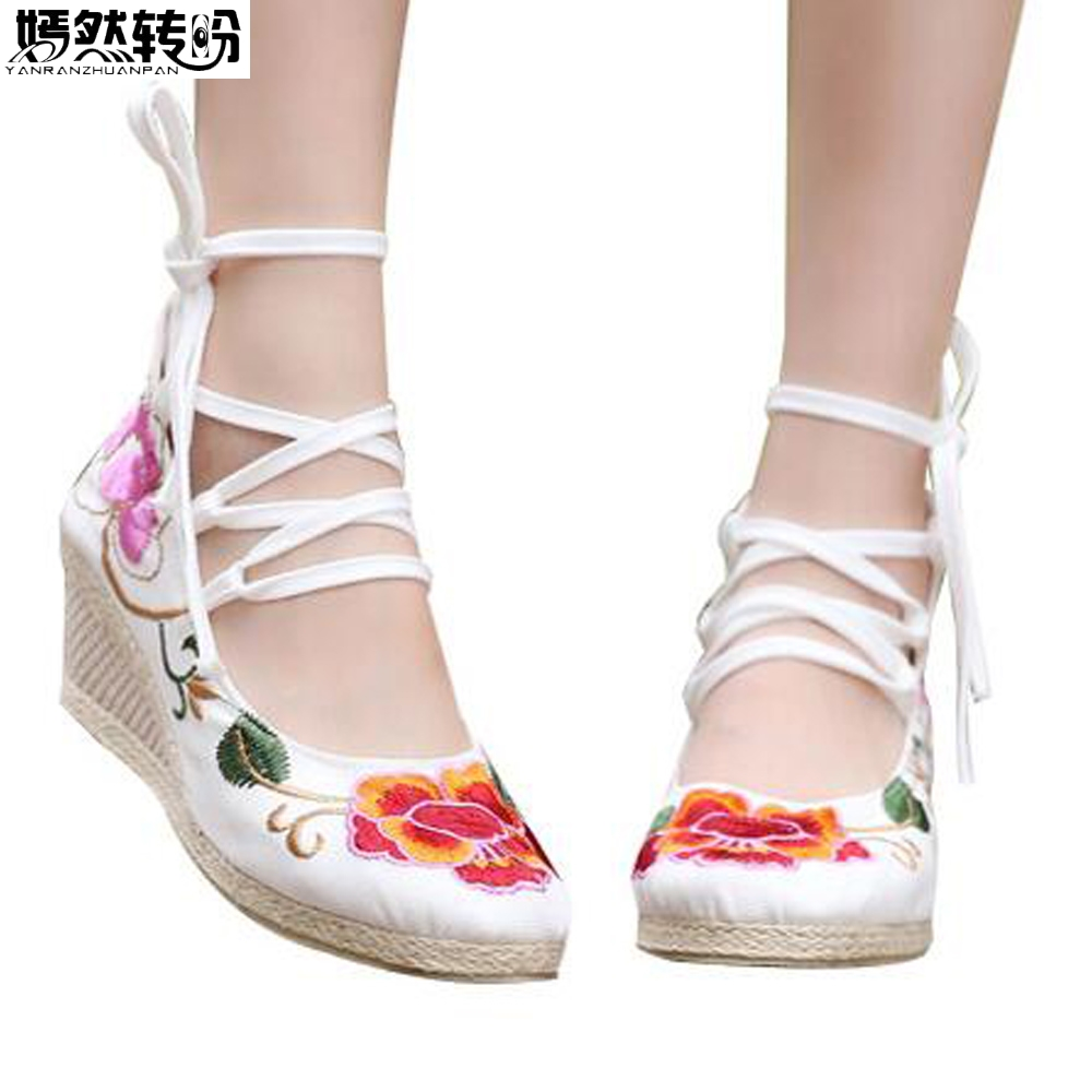 Chinese Women Pumps Beaded Flower Embroidered Lace Up Canvas Pumps High Top Med Heels Wedges Platform Shoes For Ladies