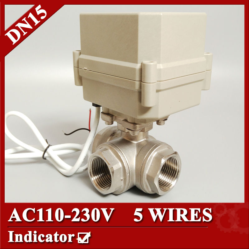 1/2'' Electric valve 3 way L port, AC110-230V SS304 Motorized valve 5 wires (CR502), DN15 Electric bal valve for fluid control 1 2 dc24vbrass 3 way t port motorized valve electric ball valve 3 wires cr301 dn15 electric valve for solar heating