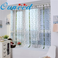 Ouneed Embroidere flower Tulle Window Screens Curtain Panel Sheer 100*80cm #20 Gift 1pc Drop