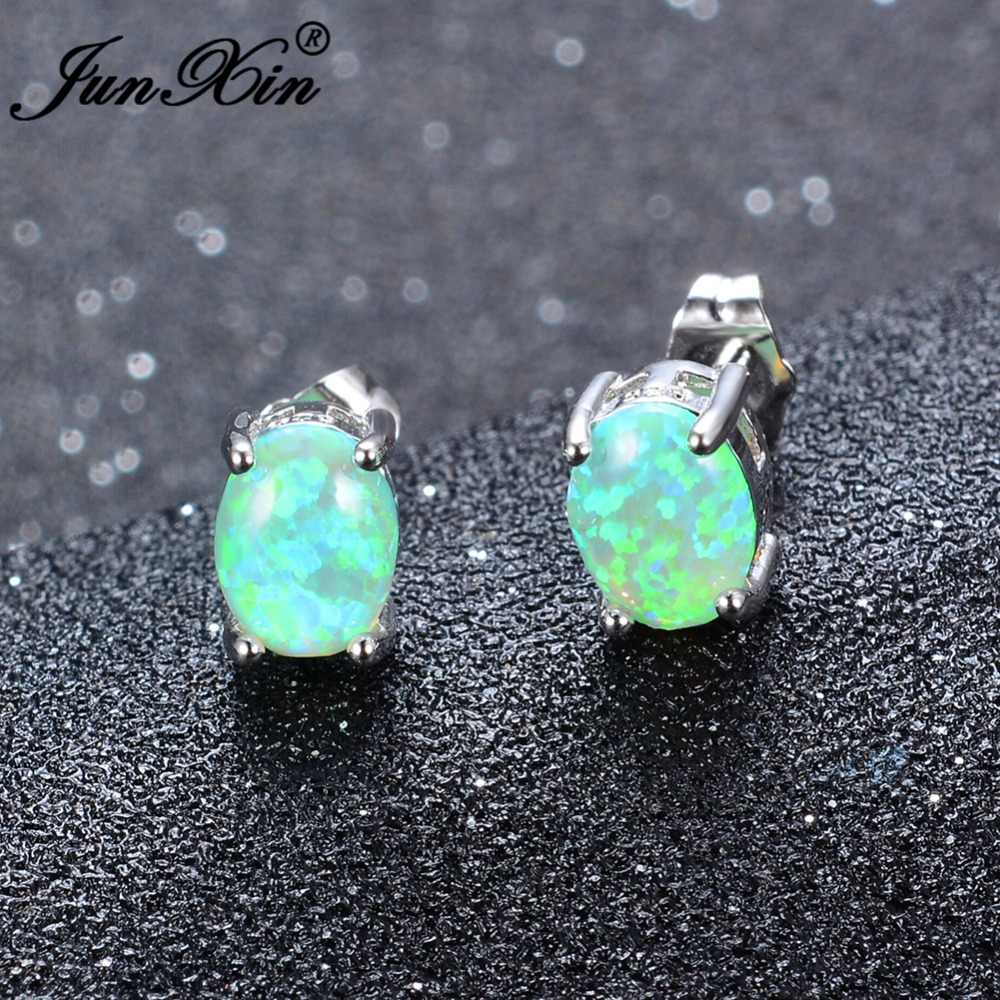 JUNXIN Female Oval Green & White & Blue Fire Opal Stud Earring 925 Sterling Silver Filled Jewelry Double Earrings For Women