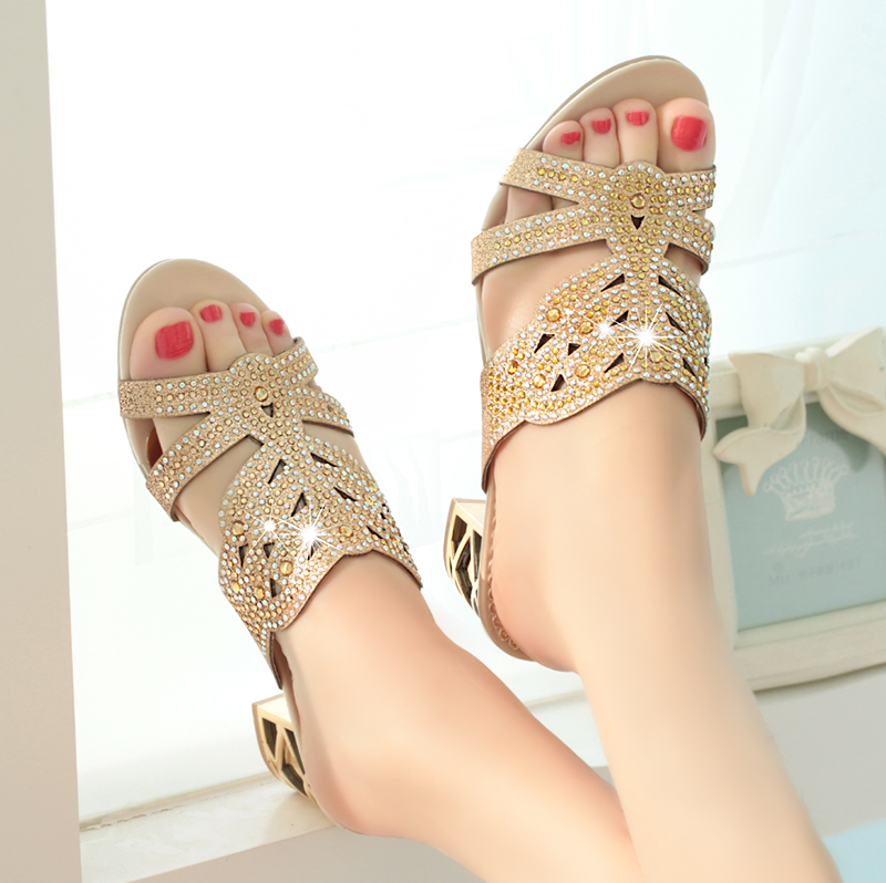 Rhinestones Hollow Out Bohemia Style Woman Sandals