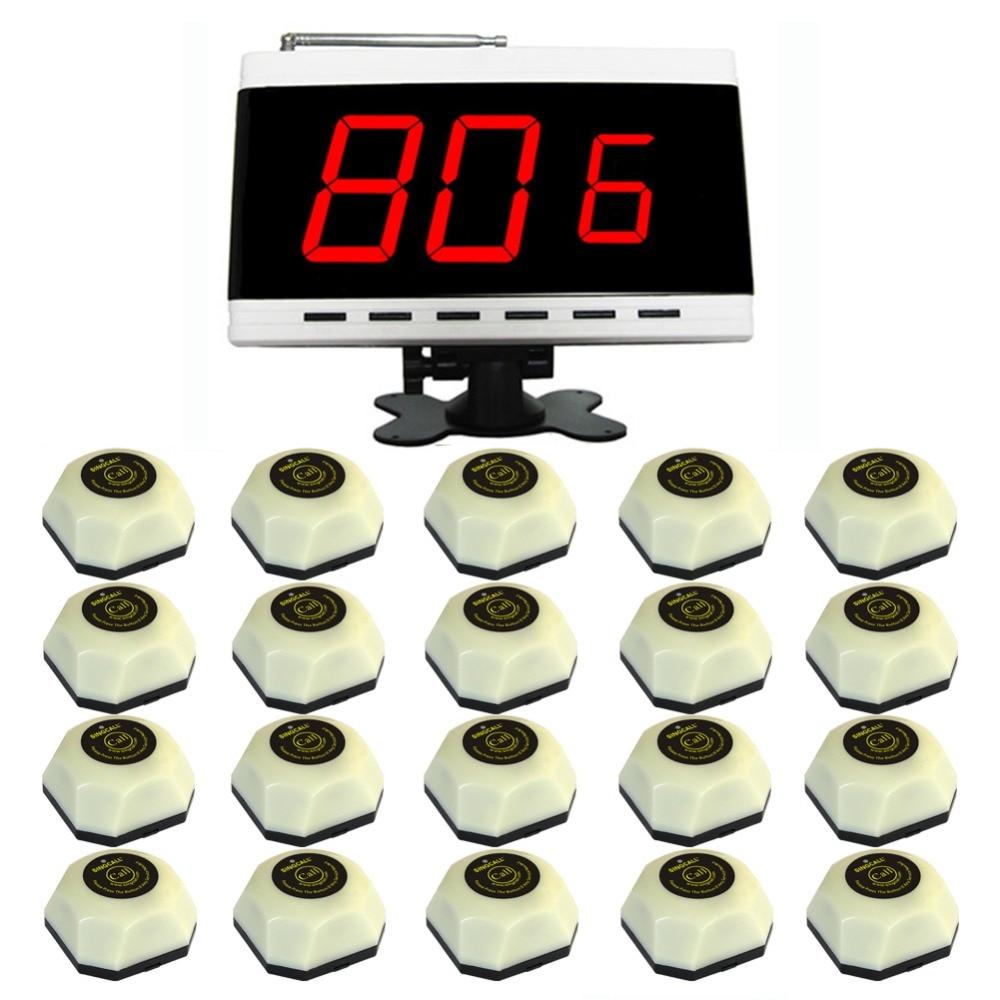 Système d'appel sans fil singcall. wireless, système d'appel de serveur, bouton d'appel, pour maison de bien-être. Y compris 20 sonnerie de table pièces 1 pc