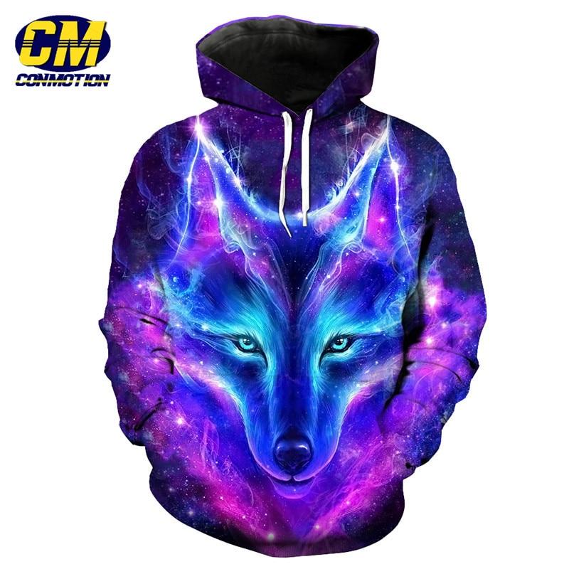 Purple Galaxy Flame Wolf Fashion Mens Hooded Sweatshirt ...
