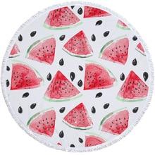 Customize Beach Towel Round Watermelon Printed Tassel Soft Summer Swimming Chair Cover Bikini Cover-upPicnic Blanket