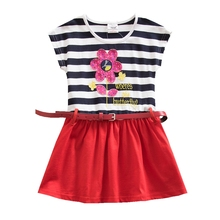 Jxs Neat Cotton Girl Short Sleeved Striped Flower Dress for Summer Baby Free Belt for 3-8 Years SH4791 it8502e jxs