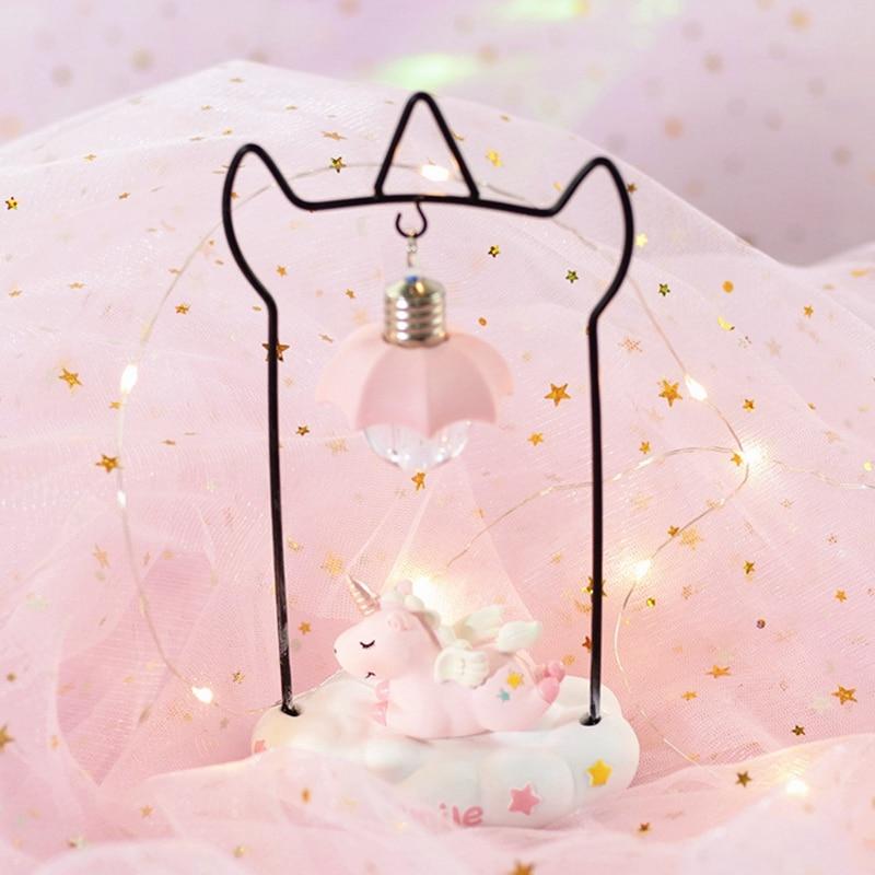 Cartoon Unicorn Resin LED Night Light Girls Room Decoration Lamp Bedside Lamp For Baby Kids Christmas New Year Birthday Gift (5)