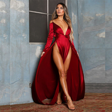 Red Satin Off The Shoulder Maxi Dress Split Sides Hollow Out Deep V Neck Full Sleeved Party Dress Backless Party Dress red satin deep v neck slit hem maxi slip dress