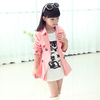 Autumn and spring Children clothing girls jacket outerwear trench girls coat twill fabric korean style