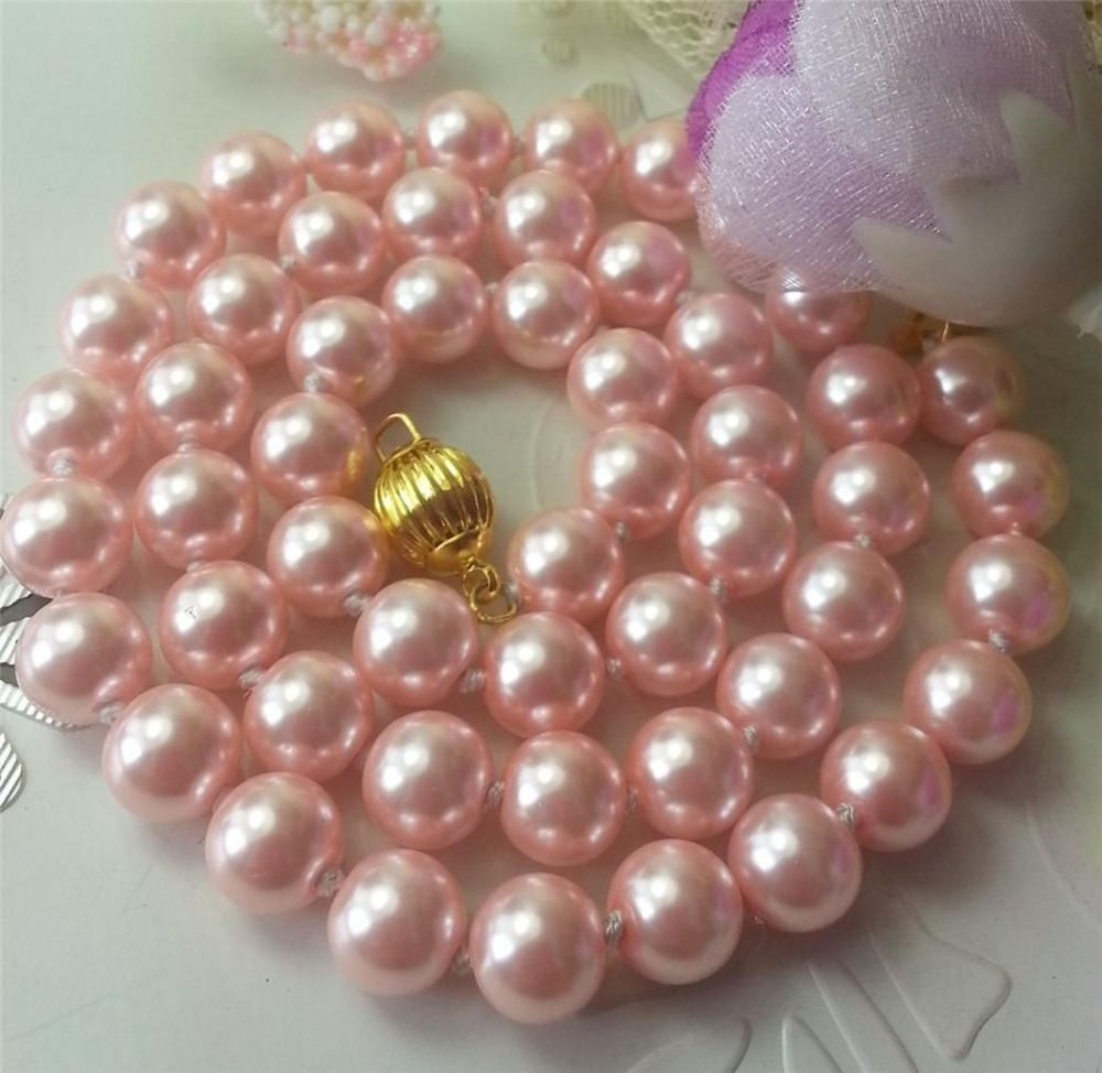 8mm Pink Ocean Shell Pearls Necklace Pearl Jewelry Rope Chain Necklace Pearl  Beads Natural Stone 35inch