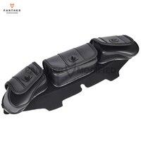 Black Motorcycle Windshield Bag Saddle 3 Pouch Pocket Case For Harley Davidson Touring 1996 2013
