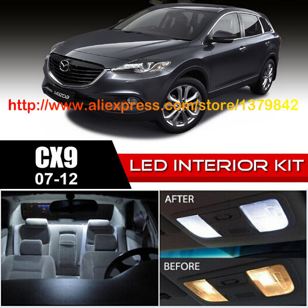 Free Shipping 10Pcs Lot car styling 12v Xenon White Blue Package Kit LED Interior Lights For 07 12 Mazda CX 9 in Signal Lamp from Automobiles Motorcycles