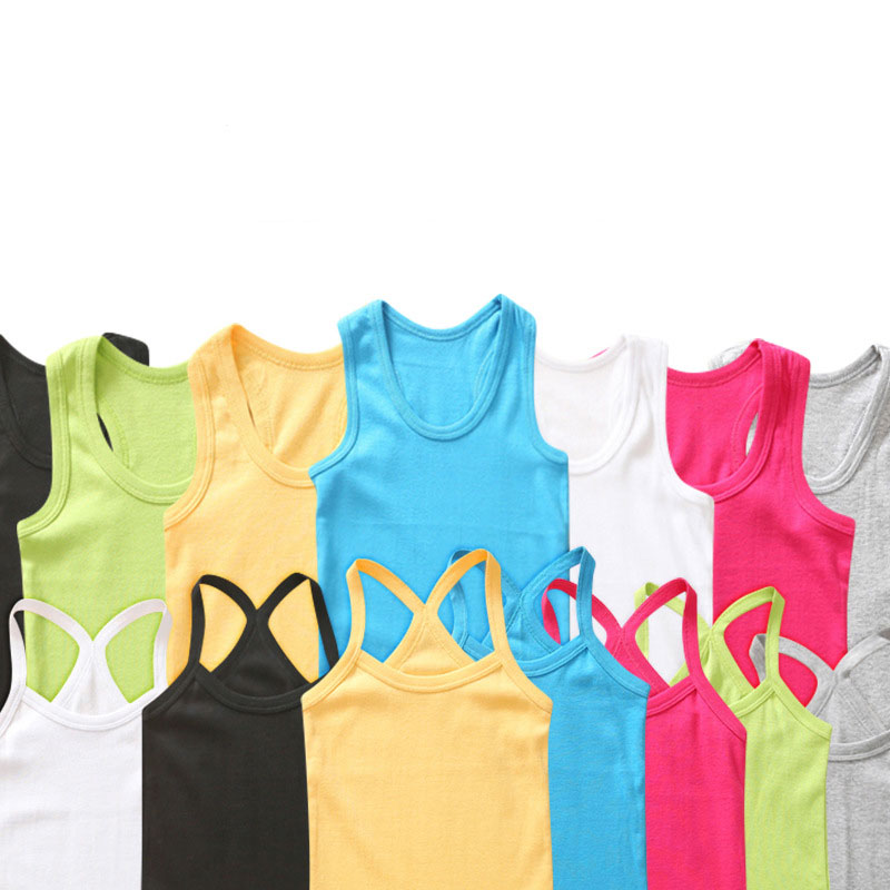 Kids T-Shirt Tops Girls Tees Boys Children Sleeveless Summer Cotton for Candy-Color Vest