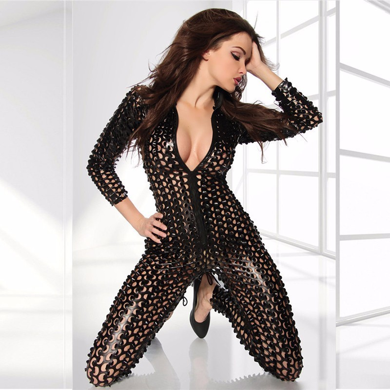 MUXU woman clothes Hollow Out leather womens clothing long sleeve jumpsuit bodysuit body feminino rompers plus size jumpsuits