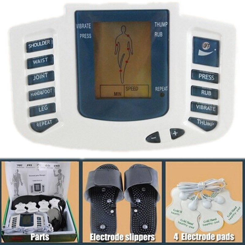 New Russian button Electrical Muscle Stimulator Body Relax Muscle Massager Pulse Tens Acupuncture Therapy Slipper+8 Pads+box electrical muscle stimulator body relax therapy massage device electric pulse tens acupuncture digital meridian massager 10 pads