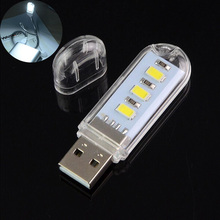 2x Mini Portable Bright 3 LED Night Light USB Lamp for PC Laptop Reading Helpers