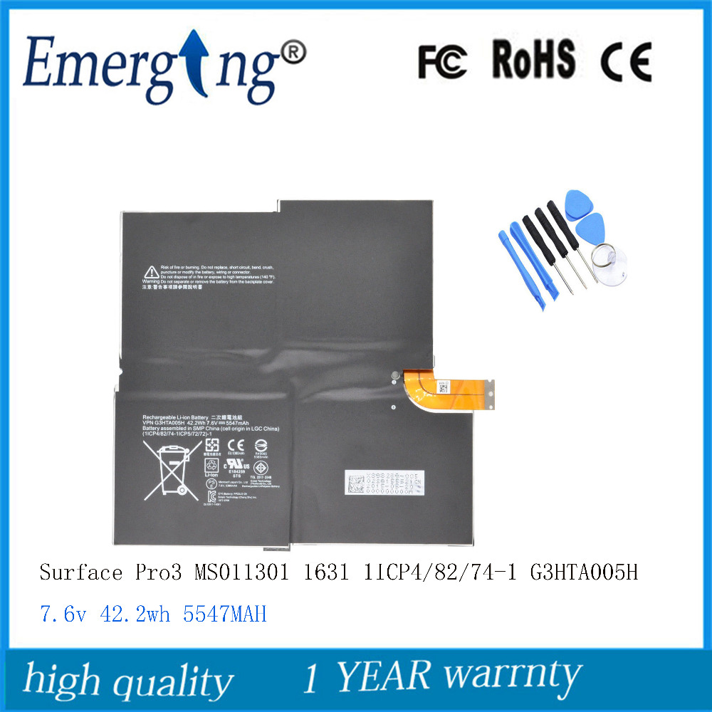 7.6V 5547mAh New Original G3HTA005H Laptop Battery For Microsoft Surface Pro 3 1631 G3HT MS011301-PLP22T02 G3HTA009H With Tools
