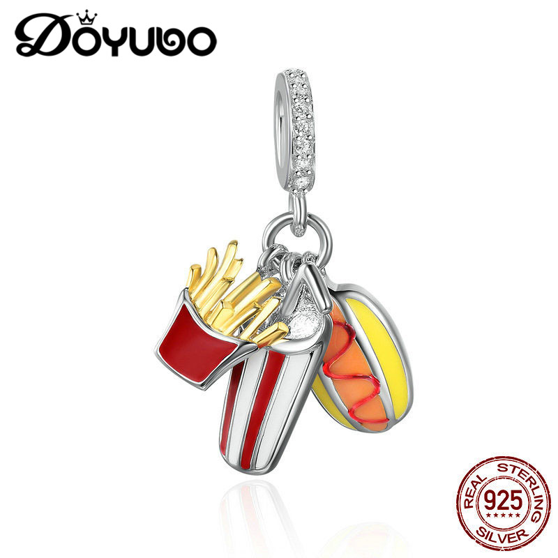 DOYUBO Lovely Design 925 Sterling Silver Dangles With Fries / Hamburger Shape DIY Pure Silver Charms & Pendants Jewelry AJ001