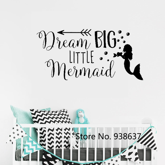 dream big little mermaid wall decal quote removable home decoration