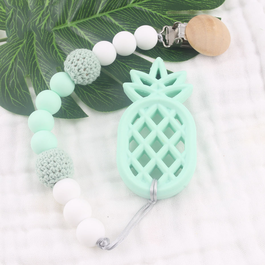 Bite Bites Baby Silicone Beads Pineapple Pendant Pacifier Chain Silicone Beads Teething Crochet Pacifier Clips Baby Teether