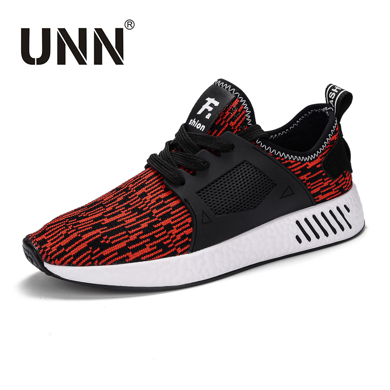 UNN Summer Mesh Shoes Men Flat Breathable Fly Woven Fabrics Lace-up Black Red Grey Sneakers For men Plus Size Shoes