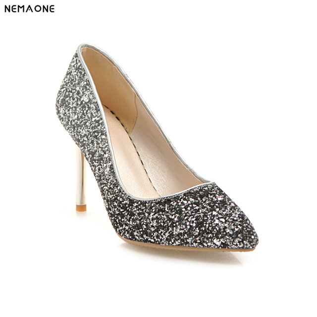 30ca656af7f US $31.5 50% OFF|2019 New Women Pumps Bling High Heels Women Pumps Glitter  High Heel Shoes Woman Sexy Wedding Shoes Gold Silver-in Women's Pumps from  ...
