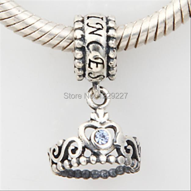 b0597ac3a My Princess Crown Dangle with Crystal Birthstone Authentic 925 Sterling  Silver Solid Charm Fits Pandora Beads