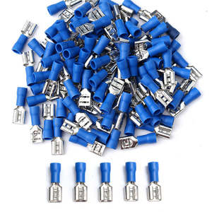 2050100 Pcslot 6.3mm15Amp Crimp Terminal Female Spade Connectors For 16-14AWG Cable Wire