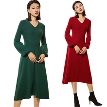 Women's Cashmere Wool Knitted Sweater Dress Long Solid Color V Collar Lantern Sleeve Dress 2019 Autumn Winter Warm Dresses New sweater dress women autumn winter cashmere knitted long sleeve runway designer high quality luxury ladies dresses wool pullovers