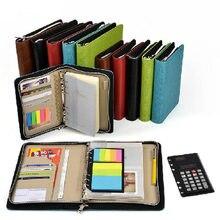 Деловая сумка на молнии A5 и A6 с логотипом на заказ, кожаный блокнот планировщик из искусственной кожи с калькулятором или блокнотом для записей на ваш выбор