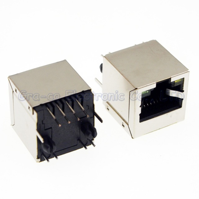 25pcs RJ45 Network Jack Female Socket 5224+LED Lan Connector With ...