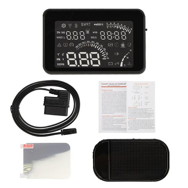 W03 Parabrisas Universal Car HUD Head Up Display Bluetooth Inalámbrico Proyector OBD2 II Velocímetro Velocidad de Advertencia del Tablero de instrumentos de Combustible