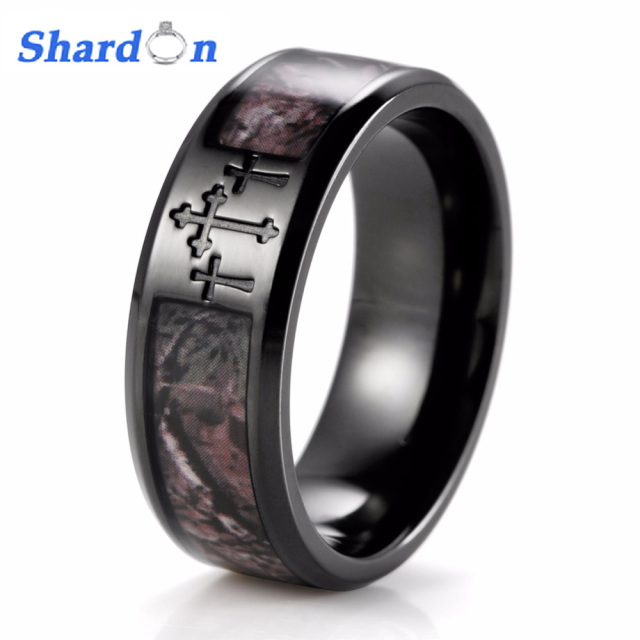 Shardon Men S Black Three Cross Camo Ring Anium Outdoor Camouflage Anniversary Band Wedding For